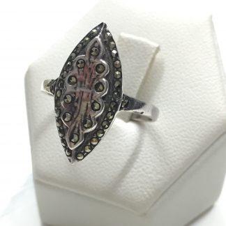 Bellissimo anello in argento 800 con marsite naturale