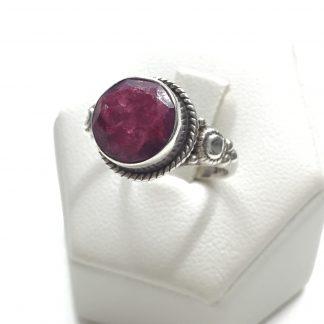 anello vintage in argento 800 con radice di rubino